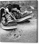 Left On The Curb Bw Canvas Print
