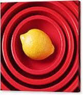 Lemon In Red Bowls Canvas Print
