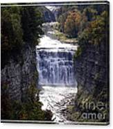 Letchworth State Park Middle Falls With Watercolor Effect Canvas Print