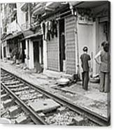 Life By The Tracks In Old Hanoi Canvas Print