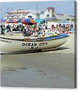 Lifeguard Boat At Ocean City Boardwalk New Jersey Canvas Print
