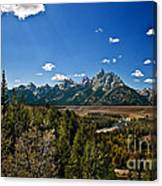 Light Rays On The Grand Tetons Canvas Print