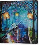 Lighted Park Path Canvas Print