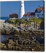 Lighthouse And Rocks Canvas Print