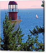 Lighthouse And Sailboats Canvas Print