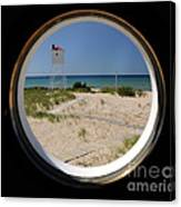 Lighthouse Window To Lake Canvas Print
