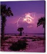 Lightning Illuminates The Purple Sky Canvas Print
