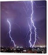 Lightning In The City Canvas Print