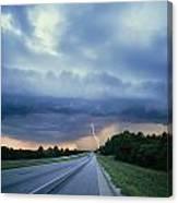 Lightning Over Highway, Bee Line Canvas Print