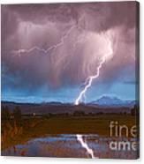 Lightning Striking Longs Peak Foothills 2 Canvas Print