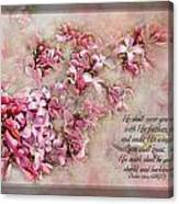 Lilacs With Verse Canvas Print
