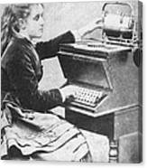 Lillian Sholes, The First Typist, 1872 Canvas Print
