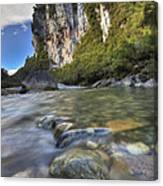 Limestone Cliffs And Fox River, Paparoa Canvas Print