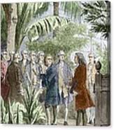 Linnaeus And De Jussieu, Botanists Canvas Print