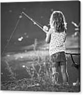 Little Fishing Girl Canvas Print