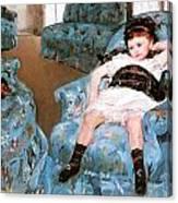 Little Girl In A Blue Armchair Canvas Print