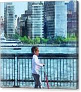 Little Girl On Scooter By Manhattan Skyline Canvas Print