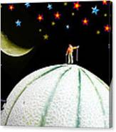 Little People Hiking On Fruits Under Starry Night Canvas Print