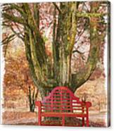 Little Red Bench Canvas Print