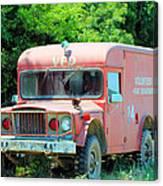 Little Red Firetruck Canvas Print