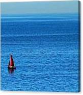 Little Red Sailboat Giant Blue Sea Canvas Print