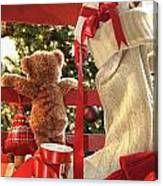Little Teddy Bear Looking Through Chair Canvas Print