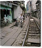 Living By The Tracks In Hanoi Canvas Print