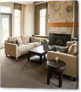 Living Room In An Upscale Home Canvas Print