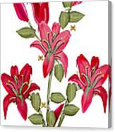 Living Sculpture II Merlot Lily Flowers and Buds Canvas Print