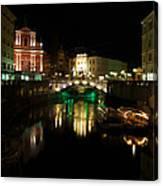 Ljubljana By Night Canvas Print