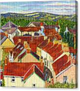 Painting Llandovery Roof Tops Canvas Print