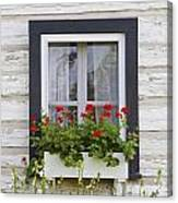 Log Home And Flower Box In The Window Canvas Print