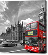 London Big Ben And Red Bus Canvas Print