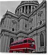 London Bus At St. Paul's Canvas Print
