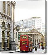 London Street With View Of Royal Exchange Building Canvas Print