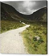 Lone Person Walking On A Path Leading Canvas Print