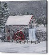 Longfellow's Grist Mill In Winter Canvas Print