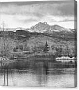 Longs Peak And Mt Meeker Sunrise At Golden Ponds Bw  Canvas Print