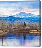 Longs Peak And Mt Meeker Sunrise At Golden Ponds Canvas Print