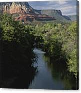 Looking Up Oak Creek At The Red Rocks Canvas Print