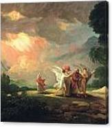 Lot Fleeing From Sodom Canvas Print