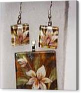 Lotus Flower Pendant And Earring Set Canvas Print