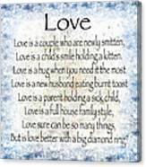 Love Poem In Blue Canvas Print