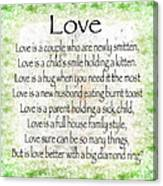 Love Poem In Green Canvas Print