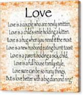 Love Poem In Orange Canvas Print
