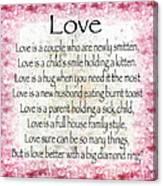 Love Poem In Pink Canvas Print