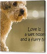Love Is A Wet Nose And A Furry Hug Canvas Print