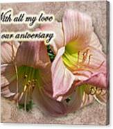 Love On Anniversary - Lilies And Lace Canvas Print