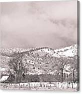 Low Clouds On The Colorado Rocky Mountain Foothills 3 Bw Canvas Print
