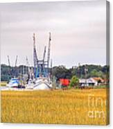 Low County Marsh View Shrimp Boats Canvas Print